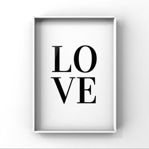 Modern minimalist LOVE art print on Matte paper